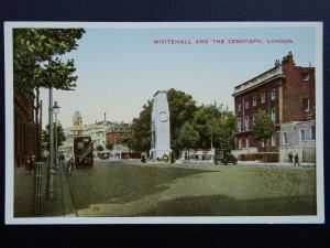 London WHITEHALL AND THE CENOTAPH c1920's Postcard