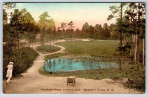 1938 SOUTHERN PINES COUNTRY CLUB NC FEMALE GOLFER HAND COLORED POSTCARD