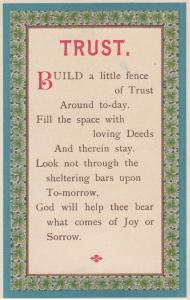 TRUST Build A Little Fence Antique Christian Proverb Postcard
