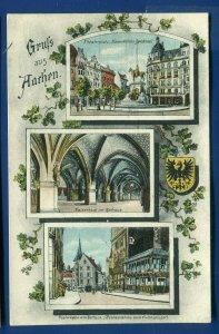 Grufs Aus Aachen Theaterplatz Rathaus Postwagen Germany postcard