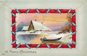 Christmas~Fellow in Rowboat~Snowbanks~Red Blue Sewing Lace Border~Emboss~1913 PC