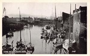 NAPA CALIFORNIA~SCENE ON NAPA RIVER B/W POSTCARD 1920-30s