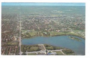 Aerial View of Provincial Legislative Buildings, Regina & rolling prairies, S...