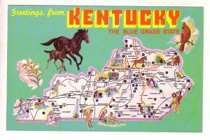 Greetings from Kentucky, Blue Grass State, Pictorial Map,