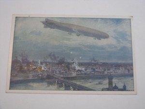 Postcard Germany Unused Zeppelin by Hans Rudolf Schulze City Bombing