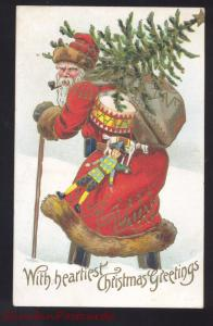 ANTIQUE VINTAGE SANTA CLAUS RED ROBE LARGE SANTA POSTCARD COLUMBUS WISCONSIN