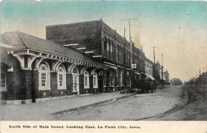 F19/ La Porte City Iowa Postcard c1910 North Side Main St Stores