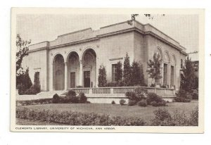 Postcard Michigan MI Clements Library University Ann Arbor Standard View Card