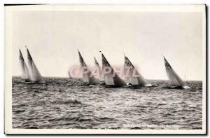Postcard Old Boat Sailboat Regattas Evian les Bains