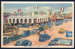 Main & Second Street Tijuana Mexico unused c1930's