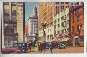 P1057 busy scene downtown w/city hall old cars signs people etc oakland calif