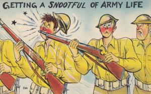Getting a snootful of Army Life, Startled soldier rams rifle in anothers fa...