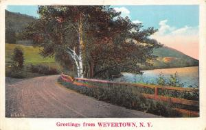 Wevertown-Johnsburg New York~Country Road along Lake~Warren County~1927 Postcard
