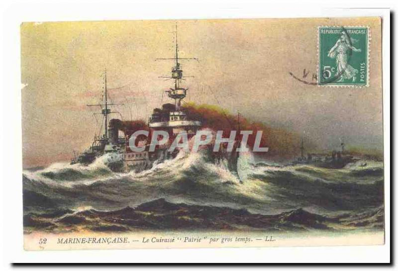 French Navy Vintage Postcard armours It Patrie by heavy weather (boat ship boat