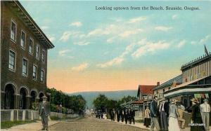 C-1910 Looking uptown Beach Seaside Oregon Scheiner Teich postcard 4053