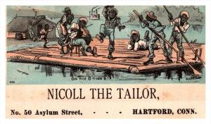 13121   Trade Card  Blacks Americana  Boys  partying on barge CT  Hartford  N...