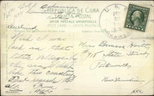 USS Arkansas Naval Ship Cover Guantanamo Cuba View 1915 Postcard