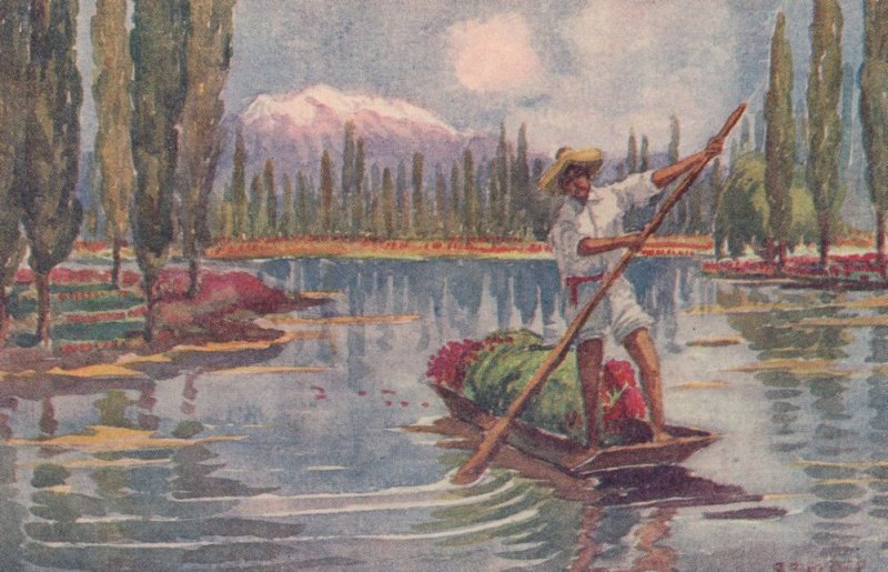 Tlahuac Rowing Boat Antique Mexican Mexico Painting Postcard