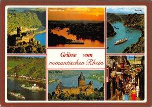 Grusse vom romantischen Rhein Burg Katz Gutenfels Loreley Boats Postcard