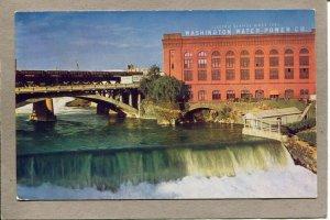 Postcard WA Spokane River Bridge Washington Water Power Co Waterfall 2643N
