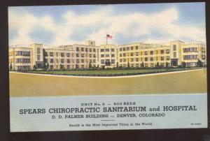SPEARS CHIROPRACTIC SANITARIUM HOSPITAL DENVER COLORADO VINTAGE POSTCARD