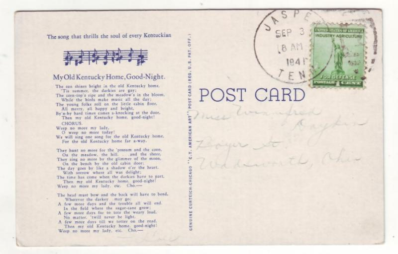 P517 JLs 1941 author stephen collins foster music my old kentucky home