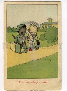 270578 Wedding KIDS Lovers BLACK AMERICANA by K.V. Vintage PC