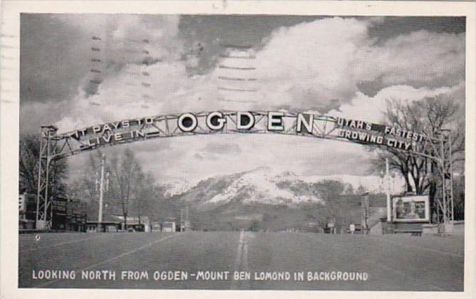 Utah Ogden Welcome Arch Looking North From Ogden On Washington Boulevard Moun...