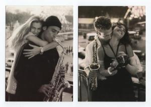 2 postcards MUSIC SAXOPHONE PIN UP GIRL COUPLE MEN MUSIC MUSICIAN year 1993