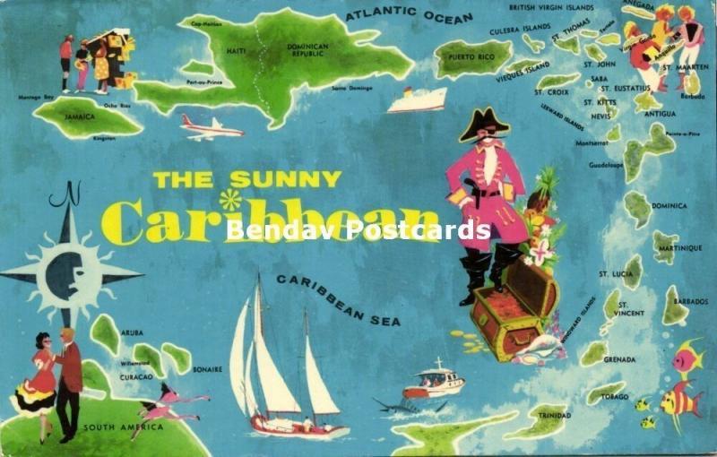 The Sunny Caribbean MAP Postcard (1972)