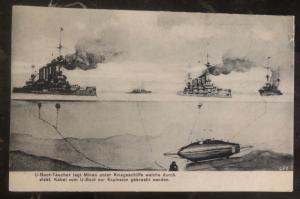 Mint Germany PPC Picture Postcard U Boat Submarine places mines under warships