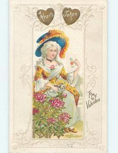 Pre-Linen PRETTY COLONIAL ERA GIRL READS VALENTINE CARD k9992