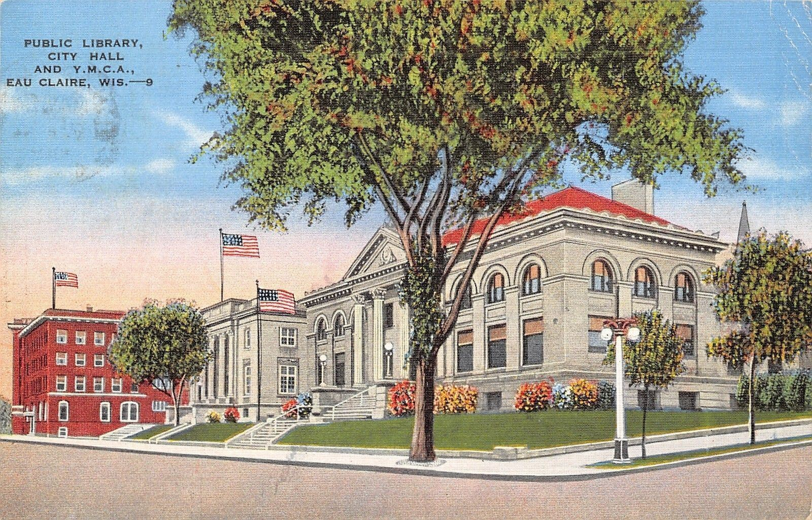 Eau Claire Wisconsin Public Library City Hall And Y M C A 1945