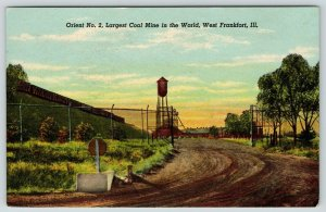 West Frankfort IL~Orient No 2 Coal Mine~Barb Wire Fence Gate~Water Tower~c1930