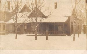 Real Photo Postcard~Home Under A Foot of Snow~Extra-Long Porch c1910
