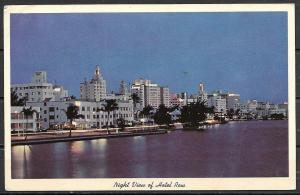1964 Florida, Miami Beach, Night View of Hotel Row, mailed to Argentina