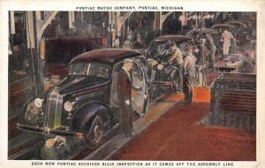 Pontiac Motor Co~Workers in Coveralls & Suit & Tie Inspect Finished Cars~c1928