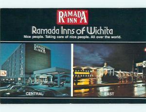 Unused Pre-1980 OLD CARS & RAMADA INN MOTEL Wichita Kansas KS u2877