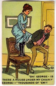 Mouse Under Chair ? Woman with Skirt up, Man Looking