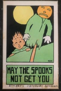Mint Vintage USA Picture Postcard PPC Halloween May The Spooks Not Get You
