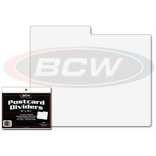 Pack of 10 BCW White Plastic Postcard Photo Dividers - 6 x 4 with 1/2 Tabs