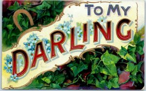 1910s Large Letter Greetings Postcard TO MY DARLING Horseshoe / Green Ivy UNUSED