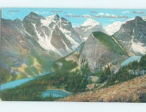 D-back LABELED MOUNTAINS ON POSTCARD Moraine Lake - Banff National Park AB F3698