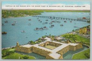 St. Augustine Florida~Matanzas Bay~Shrimp Boat Fleet~Vintage Postcard