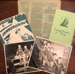 Vtg 50s CAMP TOSEBO Boy Scout Photo Paper Lot Portage Lake Michigan Todd School