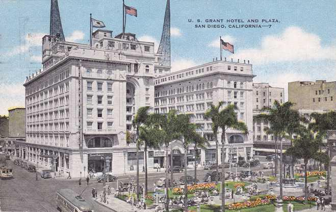 U.S. Grant Hotel and Plaza - San Diego CA, California - pm 1948 - Linen