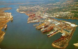Mississippi Pascagoula Aerial View Of Pascagoula River Showing Ingalls Shipyard