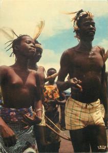 Senegal african folk ethnic dancers postcard