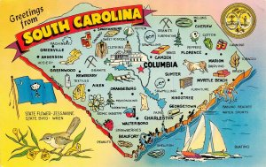 LP68  State Map South Carolina   Postcard