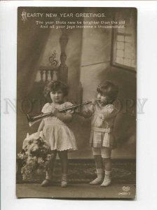 3046612 Lovely Girls w/ Big PIPE vintage PHOTO X-mas NEW YEAR